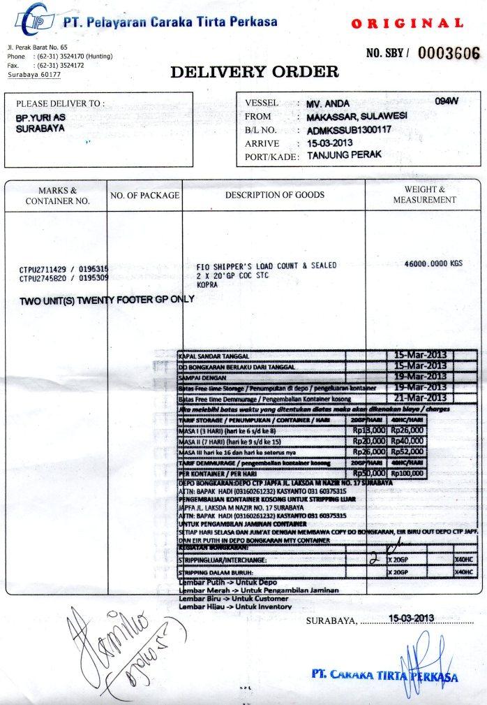 Contoh Dokumen DO (Delivery Order)