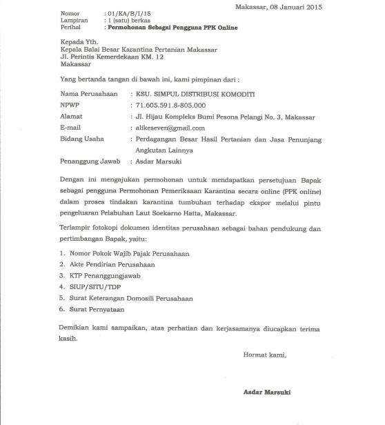 Surat Permohonan Sebagai Pengguna PPK Online