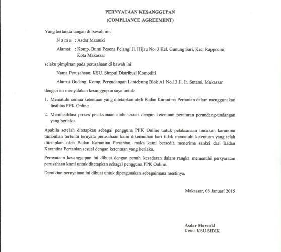 Surat Pernyataan Kesanggupan Pimpinan Perusahaan